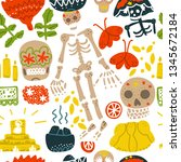mexican day of the dead   dia... | Shutterstock .eps vector #1345672184