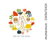 mexican day of the dead   dia... | Shutterstock .eps vector #1345672424