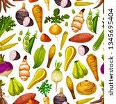 exotic vegetable seamless... | Shutterstock .eps vector #1345695404