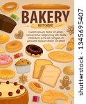 bakery pastry food  baked... | Shutterstock .eps vector #1345695407