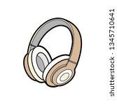 headphones wireless brown... | Shutterstock .eps vector #1345710641