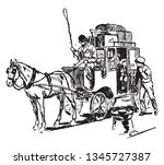 coach in which horse drawn... | Shutterstock .eps vector #1345727387
