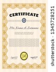 orange certificate template.... | Shutterstock .eps vector #1345728251