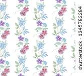 seamless watercolor flowers... | Shutterstock . vector #1345782284