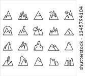 20 icon and  mountains outline... | Shutterstock .eps vector #1345794104