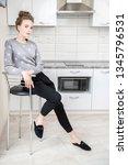 fashion shot. beautiful female... | Shutterstock . vector #1345796531
