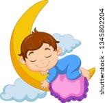 cartoon baby boy sleeping on... | Shutterstock .eps vector #1345802204