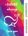 whale animal poster with... | Shutterstock .eps vector #1345810331