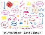 hand drawn colored signs on... | Shutterstock .eps vector #1345818584