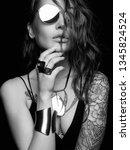 fashion black and white... | Shutterstock . vector #1345824524
