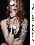 fashion portrait of beautiful... | Shutterstock . vector #1345824527