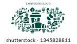 tasty icon set. 93 filled tasty ... | Shutterstock .eps vector #1345828811