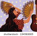 flamenco spanish girl and...