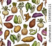 exotic vegetables and roots... | Shutterstock .eps vector #1345855121