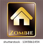 gold badge or emblem with home ... | Shutterstock .eps vector #1345861454
