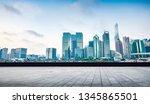 modern city shanghai skyline in ... | Shutterstock . vector #1345865501