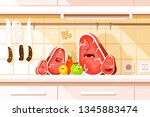 cartoon ingredients for dish on ... | Shutterstock .eps vector #1345883474
