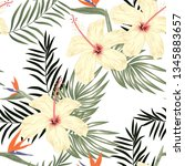 seamless pattern with hibiscus... | Shutterstock .eps vector #1345883657