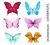 color beautiful butterflies ...   Shutterstock . vector #1345895291