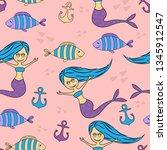 seamless mermaid childish... | Shutterstock .eps vector #1345912547
