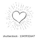 heart symbol with sunburst | Shutterstock .eps vector #1345932647