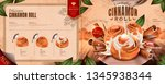 delicious cinnamon rolls menu... | Shutterstock .eps vector #1345938344