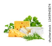 cottage and dutch cheese with... | Shutterstock .eps vector #1345945874