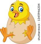 cartoon little chick hatching...   Shutterstock . vector #1345946204