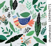 cute doodle chicken or bird in... | Shutterstock .eps vector #1345946771