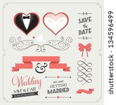 set of wedding ornaments and... | Shutterstock .eps vector #134596499