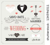 set of wedding ornaments and... | Shutterstock .eps vector #134596511