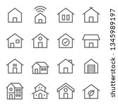 home icon set. contains such... | Shutterstock .eps vector #1345989197