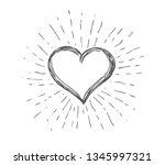 heart symbol with sunburst | Shutterstock .eps vector #1345997321