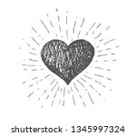 heart symbol with sunburst | Shutterstock .eps vector #1345997324