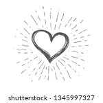 heart symbol with sunburst | Shutterstock .eps vector #1345997327