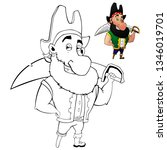 coloring cartoon pirate with a... | Shutterstock .eps vector #1346019701