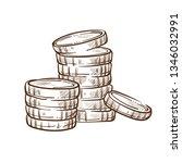 money and finance coin stacks... | Shutterstock .eps vector #1346032991