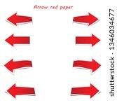 arrow red paper on white... | Shutterstock .eps vector #1346034677