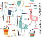seamless vector pattern with... | Shutterstock .eps vector #1346045357