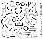 arrows set. mixed style black... | Shutterstock .eps vector #1346047097