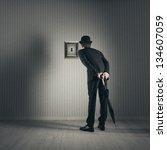 Businessman Looking Through Keyhole - Fine Art prints