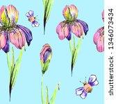 beautiful pink flowers  bee ...   Shutterstock . vector #1346073434