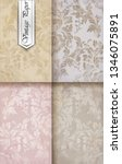 rococo floral pattern set .... | Shutterstock . vector #1346075891