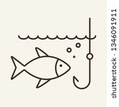 Bait Line Icon. Fish And Hook...