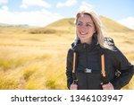 the successful woman mountain...   Shutterstock . vector #1346103947