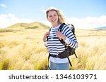 the successful woman mountain...   Shutterstock . vector #1346103971