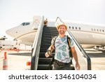 a young traveling man get in...   Shutterstock . vector #1346104034