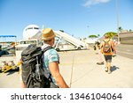a young traveling man get in...   Shutterstock . vector #1346104064
