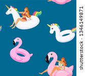 summer pattern with cute girls... | Shutterstock .eps vector #1346149871