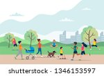 people doing various outdoor... | Shutterstock .eps vector #1346153597